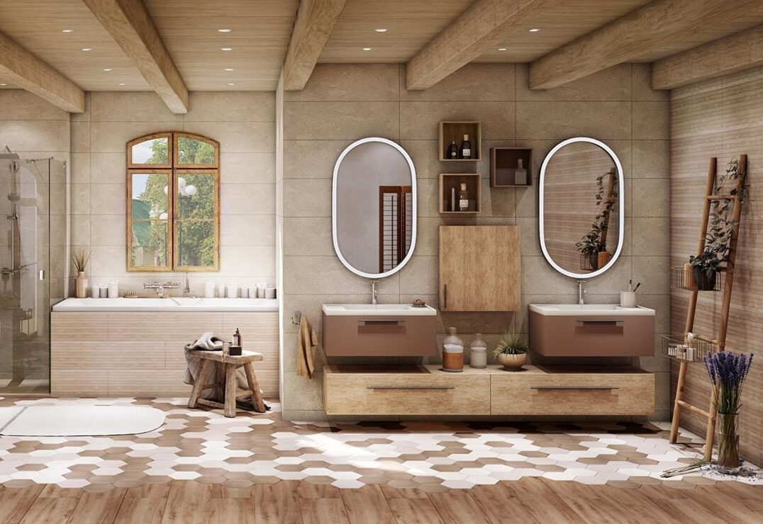 Salle de bain style campagne chic Avéo Styles & Travaux